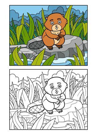 Libro de colorear para niños, Beaver se sienta en una piedra junto al río Ilustración de vector