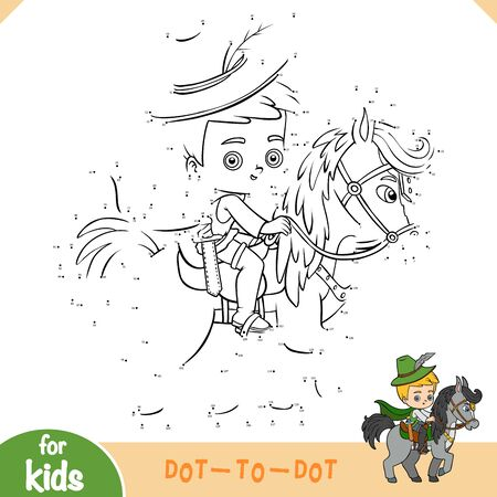 Numbers game, education dot to dot game for children, Prince on horse