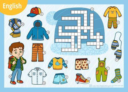 Vector kleurrijk kruiswoordraadsel in het Engels, onderwijsspel voor kinderen. Cartoon set kleding voor jongen
