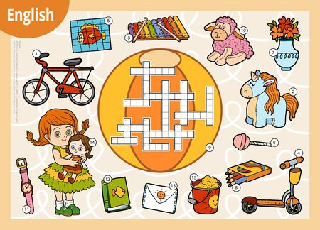 Vector crossword in English, education game for children. Cartoon set of toys and objects for girl