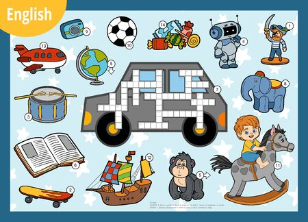 Vector colorful crossword in English, education game for children. Cartoon set of toys and items for boys