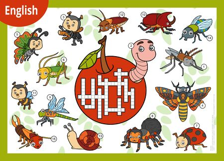 Vector colorful crossword in English, education game for children. Cartoon set of insects and little animals Ilustração