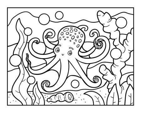 Coloring book for children, Octopus in the sea