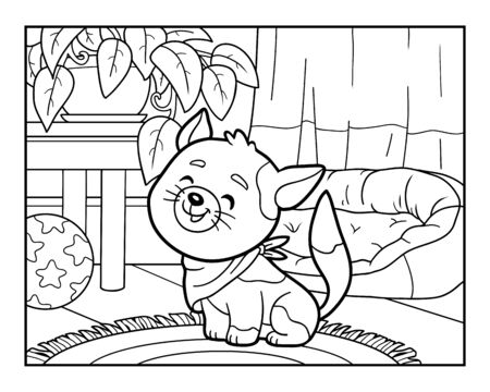 Coloring book for children, Cat in the living room