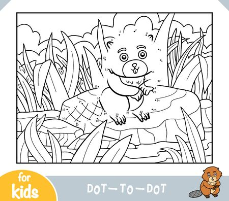 Numbers game, education dot to dot game for children, Beaver sits on a stone by the river