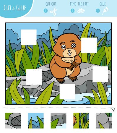 Find the missing pieces, jigsaw puzzle game for children. Cut and glue squares. Beaver on the river Ilustração