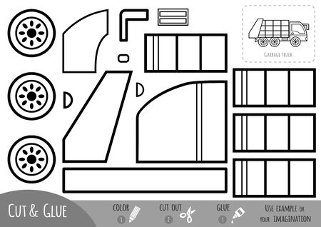 Education paper game for children, Garbage truck. Use scissors and glue to create the image. Vektoros illusztráció
