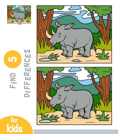 Find differences, educational game for children, Rhino in the African savannah Ilustración de vector