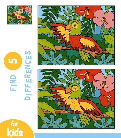 Find differences, educational game for children, Parrot on a branch in the rainforest