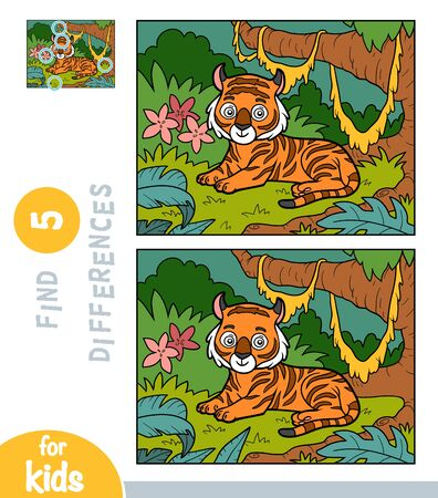 Find differences, educational game for children, Tiger in the meadow in the jungle
