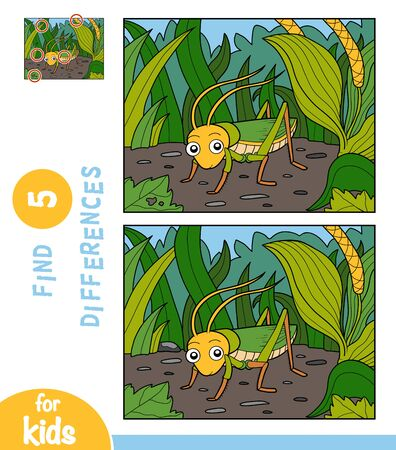 Find differences, educational game for children, Grasshopper in the grass