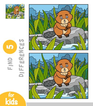 Find differences, educational game for children, Beaver sits on a stone by the river