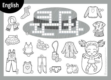 Vector black and white crossword in English, education game for children. Cartoon set of clothes for girl