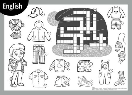 Vector black and white crossword in English, education game for children. Cartoon set of clothes for boy Stock Illustratie