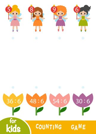 Counting Game for Preschool Children. Educational a mathematical game. Worksheet with division by six. Fairies and flowers