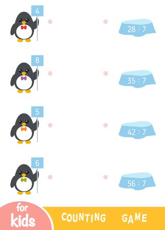 Counting Game for Preschool Children. Educational a mathematical game. Worksheet with division by seven. Penguins and ice floes