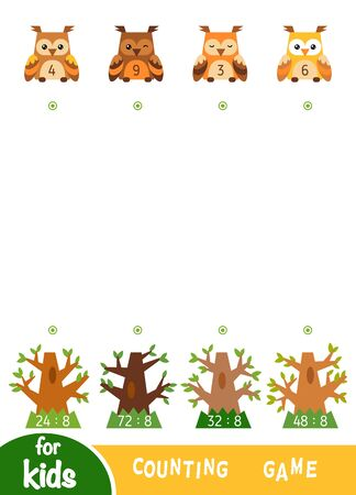 Counting Game for Preschool Children. Educational a mathematical game. Worksheet with division by eight. Owls and trees