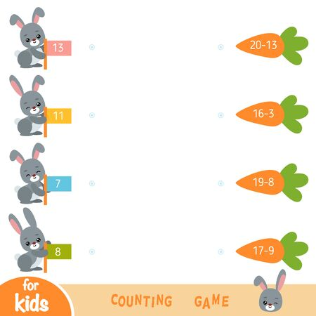 Counting Game for Preschool Children. Educational a mathematical game. Subtraction worksheets. Rabbits and carrots