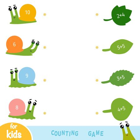 Counting Game for Preschool Children. Educational a mathematical game. Addition worksheets. Snails and leaves Illustration