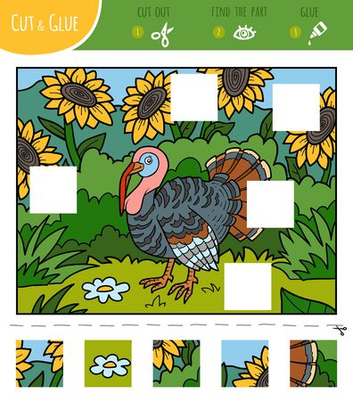 Find the missing pieces, jigsaw puzzle game for children. Cut and glue squares. Turkey and meadow with sunflowers Çizim