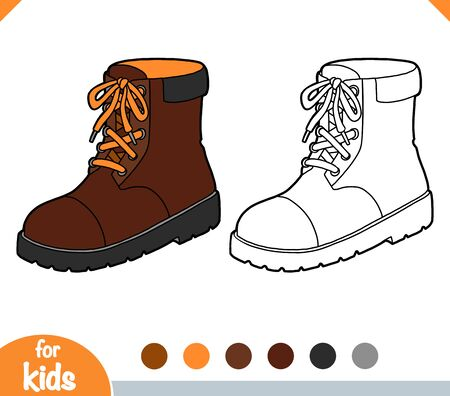 Coloring book for children, Brown boots