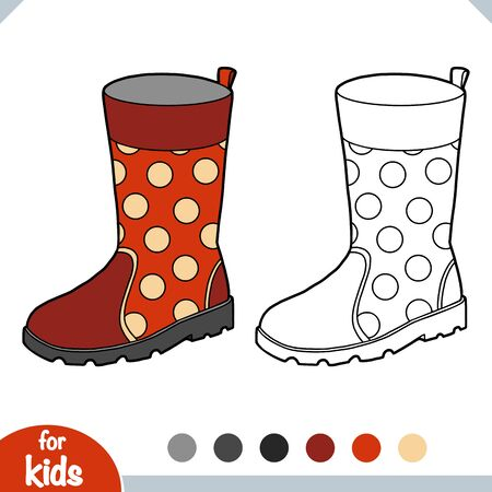 Coloring book for children, Rubber boots Illusztráció
