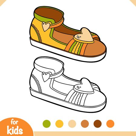 Coloring book for children, cartoon shoe collection. Kids sandal with heart sign