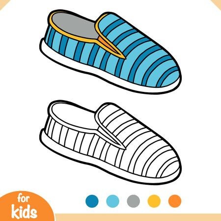 Coloring book for children, cartoon shoe collection. Slip on shoe Vetores