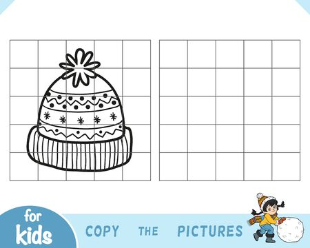 Copy the picture, education game for children, Knitted hat