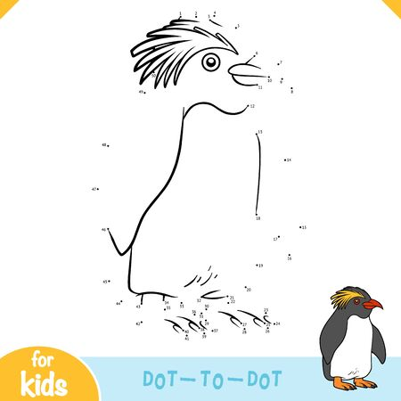 Numbers game, education dot to dot game for children, Crested penguin