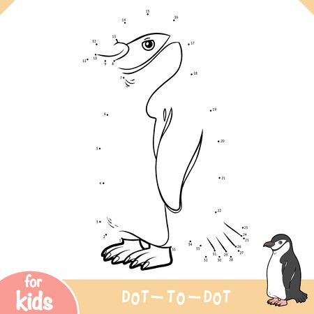 Numbers game, education dot to dot game for children, Chinstrap penguin