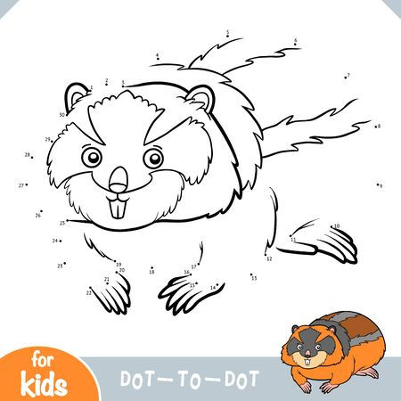 Numbers game, education dot to dot game for children, Lemming Illustration