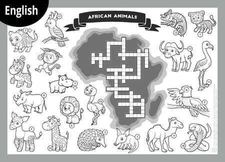 Vector black and white crossword in English, education game for children. Cartoon animals of Africa 向量圖像