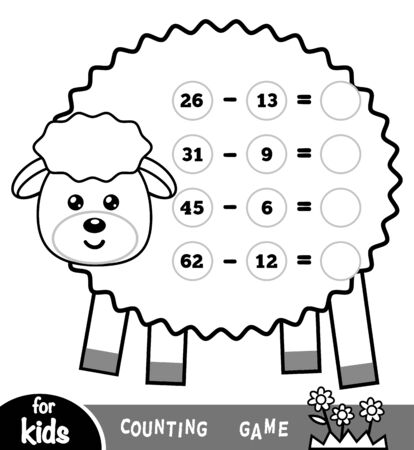 Counting Game for Preschool Children. Educational a mathematical game. Count the numbers in the picture and write the result. Tasks for subtraction on the background of a sheep