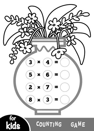 Counting Game for Preschool Children. Educational a mathematical game. Count the numbers in the picture and write the result. Multiplication worksheets on background of a vase with flowers.