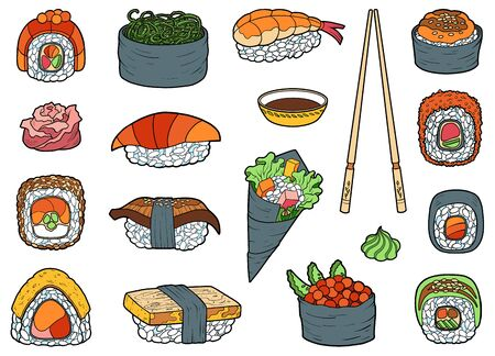 Vector set of japanese food, color collection of cartoon sushi, sashimi and rolls