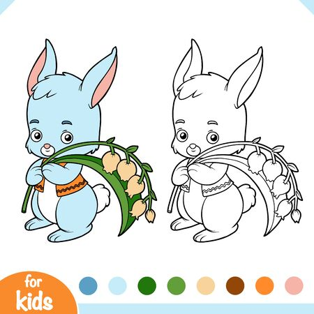 Coloring book for children, Cute bunny and lilies of the valley
