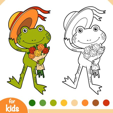 Coloring book for children, Cute little frog with a bouquet of flowers 向量圖像