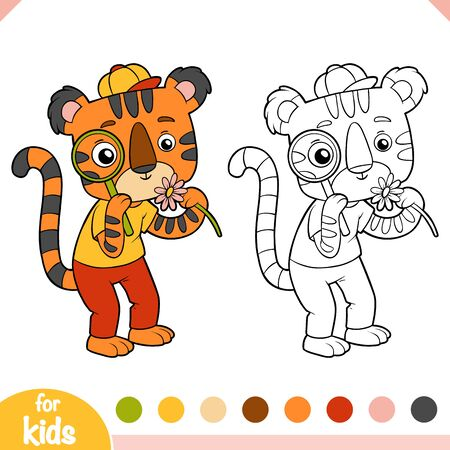 Coloring book for children, Cute tiger with a magnifier looks at a flower 向量圖像