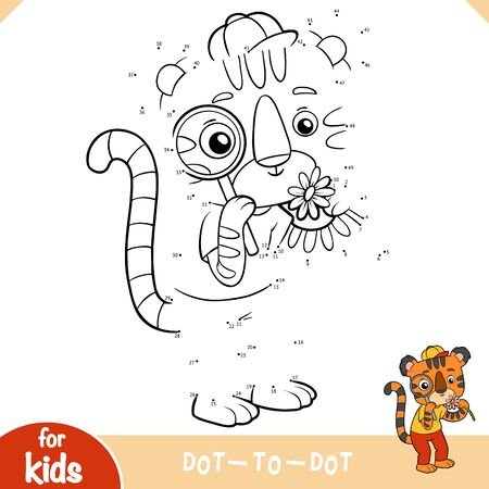 Numbers game, education dot to dot game for children, Cute tiger with a magnifier looks at a flower 向量圖像