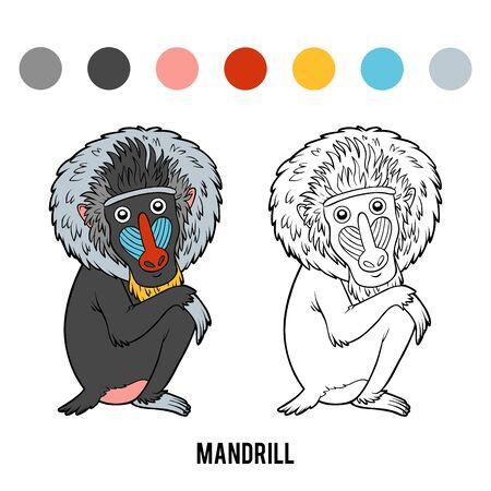 Coloring book for children, Mandrill Illustration