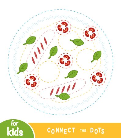 Connect the dots, education game for children, Fried egg