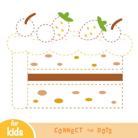 Connect the dots, education game for children, Cake Vectores