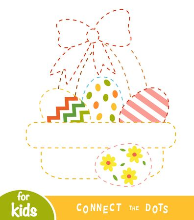 Connect the dots, education game for children, Easter basket with colored eggs