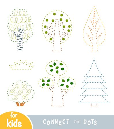 Connect the dots, education game for children, flat set of trees
