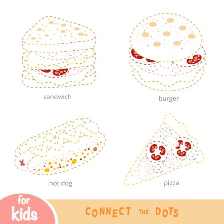 Connect the dots, education game for children, set of food. Burger, hot dog, pizza, sandwich