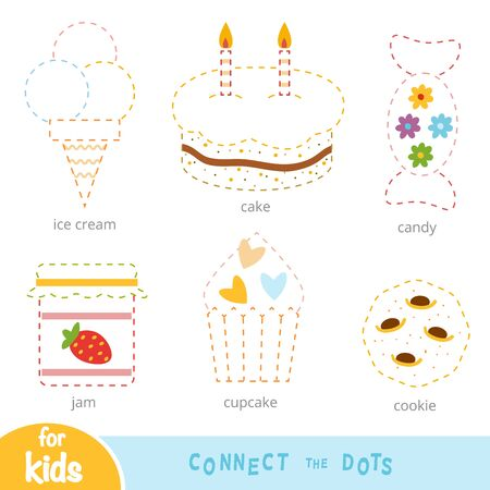 Connect the dots, education game for children, set of sweet food