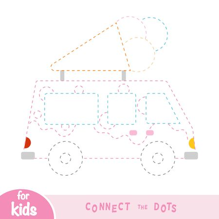 Connect the dots, education game for children, Ice cream wagon Ilustracja