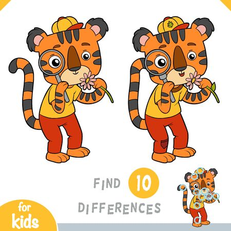 Find differences, educational game for children, Cute tiger with a magnifier looks at a flower