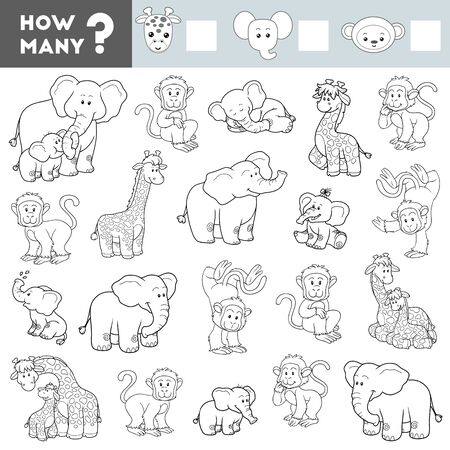 Counting Game for Preschool Children. Educational a mathematical game. Count how many Elephants, Giraffes, Monkeys and write the result!